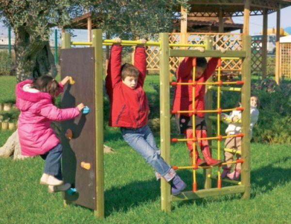 Parete Scalata Bambini : Palestrina forest con parete con rete di corda; spalliera svedese