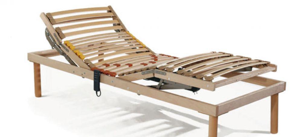 Rete letto elettrica in legno alza testa piedi doghe regolabili anatomica wood - Rete letto legno ...