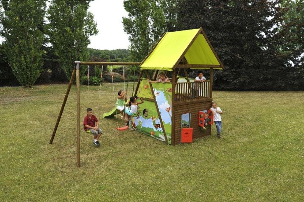 Struttura gioco in legno da giardino mahori 2 altalene - Ringhiera in legno per giardino ...