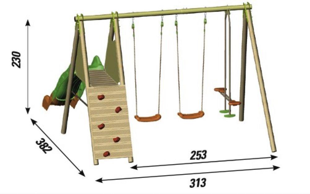 Struttura gioco in legno da giardino ciclamino 2 altalene for Altalena chicco da giardino