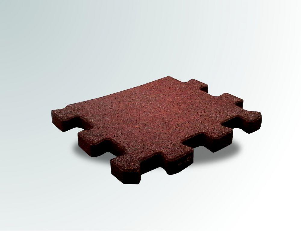 Pavimento a puzzle in gomma antitrauma rossa 50x100 sp 2cm - Piastrelle gomma antitrauma ...