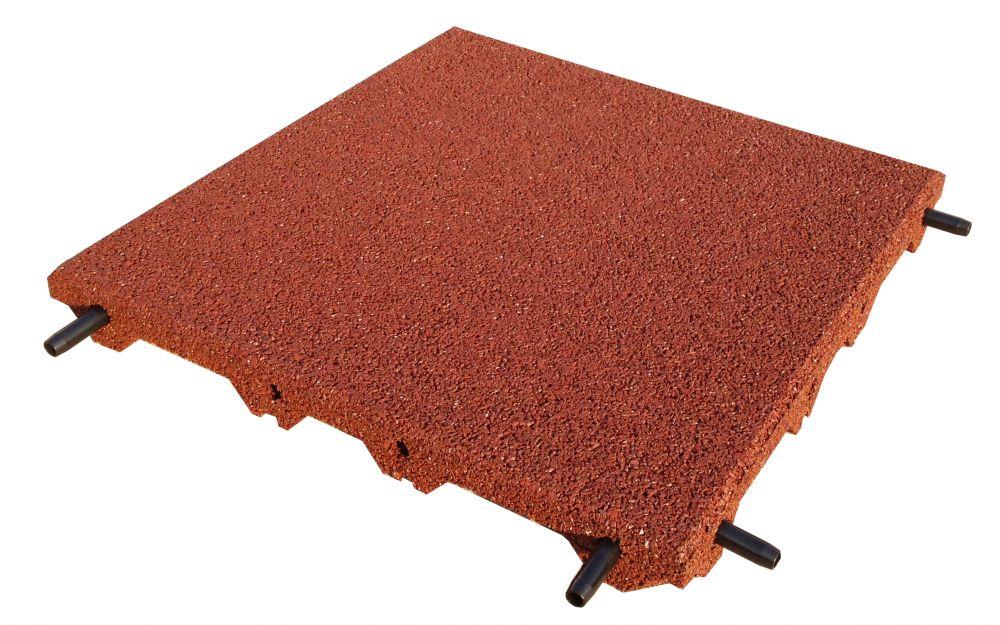 Piastrelle antitrauma rossa 50x50 sp 5 cm c spinotti hic - Piastrelle esterno 50x50 ...
