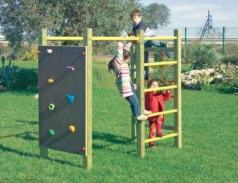 Palestrina Cubo Magico con parete con rete di corda; spalliera svedese; pannello arrampicata con appigli e sbarre