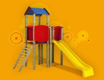 Torretta Caroline-VERSIONE BIG con scala di risalita e scivolo ideale per parchi pubblici