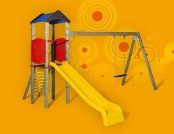 Torretta Nicole-VERSIONE BIG con scala di risalita; scivolo e altalena ideale per parchi pubblici
