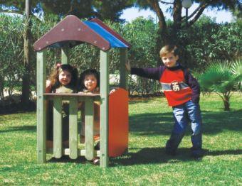 Casetta Annie tetto a 2 falde con parapetti ideale per parchi e giardini pubblici