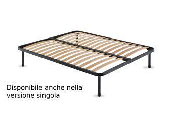 Rete in ferro fissa con doghe in legno ortopedica ( il prezzo si riferisce alla versione singola ) , piedi optional