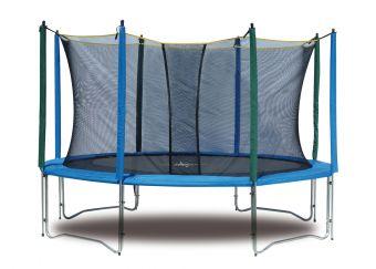 Trampolino per esterno L 305 cm con rete di protezione