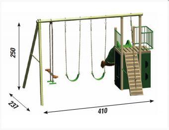 Struttura gioco in legno da giardino  Sioux ( 2 altalena , cavalluccio , fune  , terrazzino con ringhiera e  scala   , scivolo   , vano nascondino )