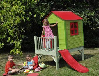 Casetta gioco giardino  Mirtillo in legno di pino colorato (con terrazzino e scivolo  )