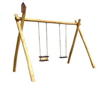 Altalena in legno a due posti ( una tavoletta e una gabbia )