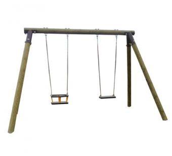 Altalena in legno a due posti ( tavoletta piu gabbia)