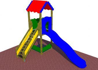 Torre 150 cm  con tetto e scivolo ad onda