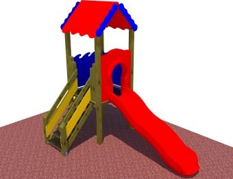 Torre 100 cm con tetto e scivolo ad onda