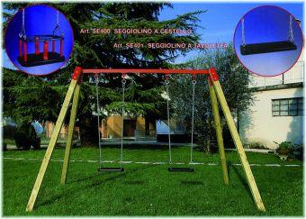 Altalena in legno due posti ( un sedile a tavoletta e uno a gabbia )