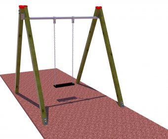 Altalena in legno un posto ( sedile a gabbia )