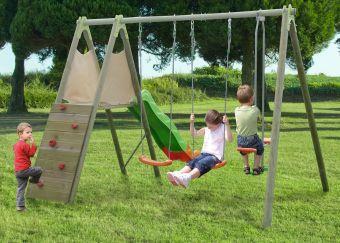 Struttura gioco in legno da giardino CICLAMINO: 2 altalene + cavalluccio + scivolo + arrampicata