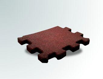 Pavimento a puzzle in gomma antitrauma rossa 50x100 sp 2cm
