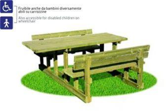 ... composta da tavolo e panche con spalliera ideale per parchi pubblici