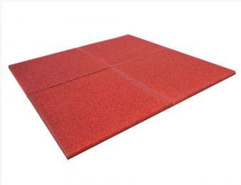 Piastrella in gomma rossa SBR per esterno 100x100x2 senza spinotti