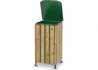 Cestone Park, realizzato con struttura portante in acciaio e fasce laterali in legno di pino nordico. Con coperchio di lamiera zincata.