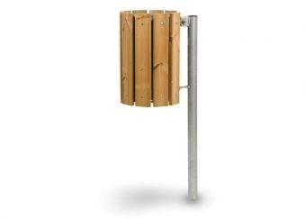 Cestino EcoWood, con paletto di sostegno e modulo interno estraibile. In legno di pino nordico, ideale per essere fissato alla pavimentazione.