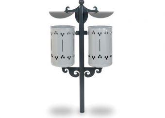 Cestino Pigalle Double, con paletto di sostegno e tettucci in lamiera di acciaio. Colore Bianco, ideale per il fissaggio alla pavimentazione.
