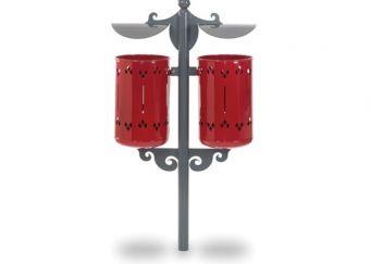 Cestino Pigalle Double, colore Rosso. Con paletto di sostegno e tettucci in lamiera sagomata. Da interrare.