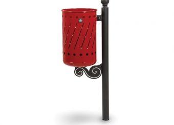 Cestino Decò, versione da fissare al pavimento. Con paletto Grigio Micaceo e cestino cilindrico decorato, colore Rosso.