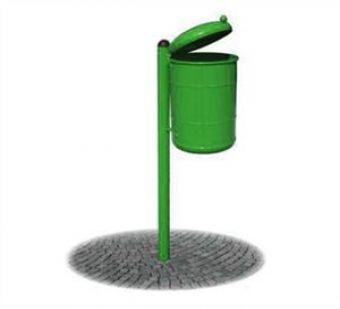 Cestino Verde in acciaio, con paletto e coperchio sollevabile.