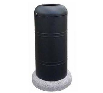 Cestino Cilindrico, di grande capacità e con basamento in conglomerato di calcestruzzo.