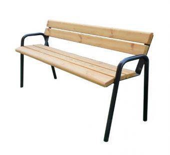 Panca con Braccioli, seduta in legno e supporti in metallo.