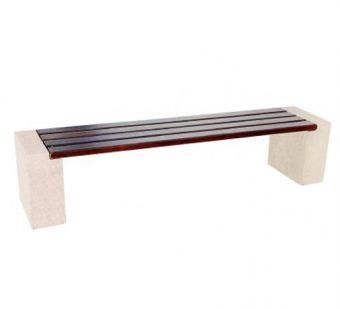 Panca senza schienale in Legno di Iroko. Supporti in cemento quadrato, versione da cm. 200.
