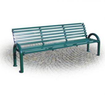 Panchina Tubolare, supporti a U rovesciata e schienale ergonomico. Versione cm. 200.