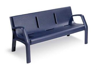 Panca Daytona Blu Notte, con schienale e realizzata interamente in Polyetilene.