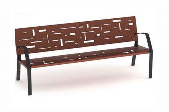 Panca Tetris, con schienale e seduta decorati con motivi geometrici rettangolari.