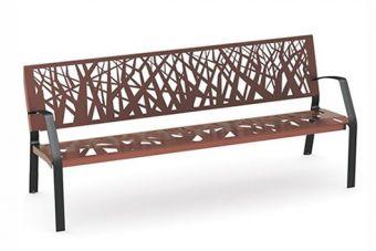 Panca Foresta, ideale per uso esterno. Con motivi geometrici ricordanti bosco stilizzato.