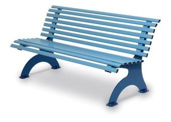 Panca Kate, interamente in acciaio versione colore Azzurro.