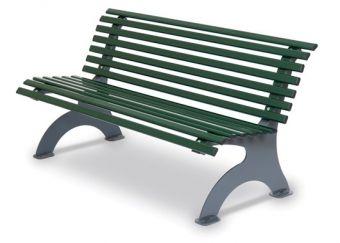 Panca Kate, ideale per giardini ed esterni. Versione colore Verde.