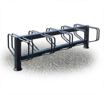 Portabiciclette Bifacciale, unico nel suo genere con due file parallele di posteggio bici.