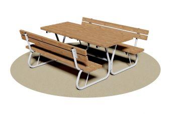 Tavolo Pic-Nic, con spalliera e struttura in tubolare di acciaio.