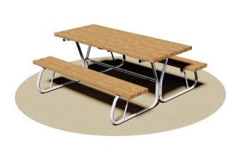 Tavolo Pic-Nic, senza spalliera con struttura in tubolare tondo di acciaio.
