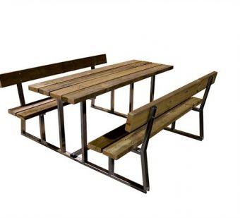 Tavolo e Panche Relax, versione da Pic-Nic in metallo e legno.