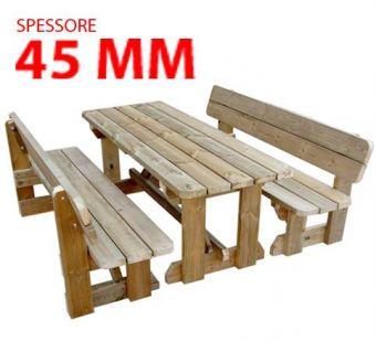 Set Pic-Nic Relax, con spalliera e struttura in Legno di Pino Nordico. Versione per Bambini.