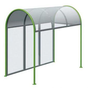 Pensilina di Attesa per aree urbane, in tubolare di acciaio e rivestimento trasparente.