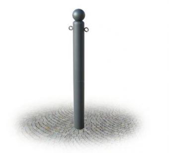 Dissuasore Centro Storico, in tubo tondo con copritubo a sfera in acciaio zincato.