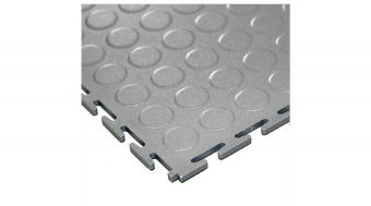 Piastrella HAMMER - in PVC da fiere ed industria leggera ( sp 5mm ) con ampi vantaggi specifici. ( per m² ) Finitura Dischetti