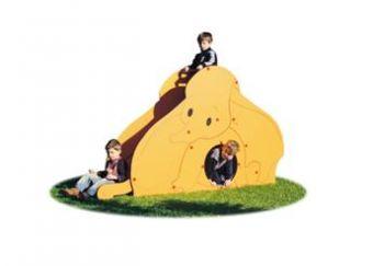 Scivolo Circus h.80 cm. in acciaio inox, pannelli decorativi con tunnel, scala di risalita.