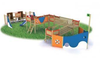 Galeone con torrette; ponte mobile; ponte oscillante; passerella; pedane rialzate; scala di risalita in legno; scala di risalita in corda; pareti con reti di corda.