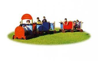 Trenino Safary Express con vagone locomotiva e 2 vagoni scoperti ideale per parchi pubblici